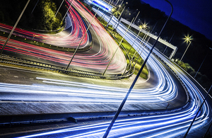 Image of highway at night to accompany release of National Infrastructure Delivery Plan 2016-2021.