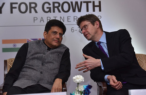 UK Secretary of State for Business, Energy and Industrial Strategy, Greg Clark, meets with India's Minister for Power, New & Renewable Energy, Coal and Mines, Piyush Goyal to discuss UK investment in India through the Energy for Growth Partnership.