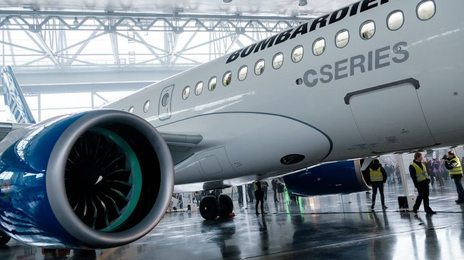 The Bombardier C Series, on display in 2015, is at the centre of trade disputes with the US and Brazil due to Canadian corporate welfare.