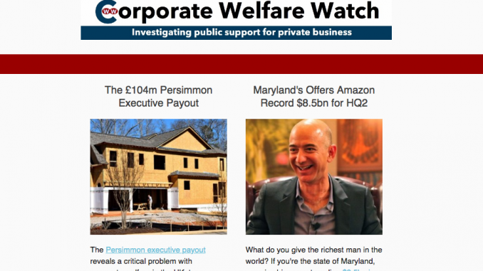 The newsletter of Corporate Welfare Watch for April 2018.